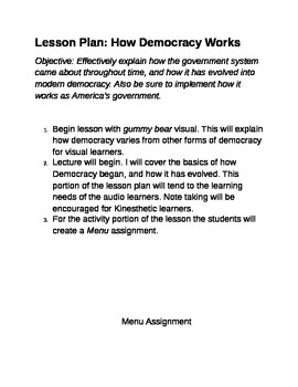 Democracy Lesson Plan and Activity Worksheet