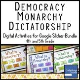 Democracy, Monarchy, Dictatorship - Bundle of Activities f