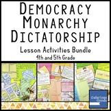 Democracy, Monarchy, Dictatorship - Government Lesson Acti