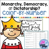 Democracy, Monarchy, or Dictatorship? Color-By-Number