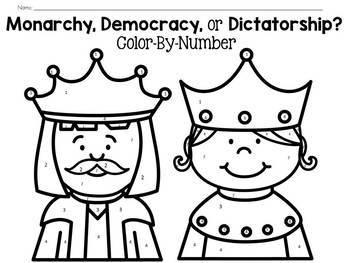 Democracy, Monarchy, or Dictatorship? Color-By-Number