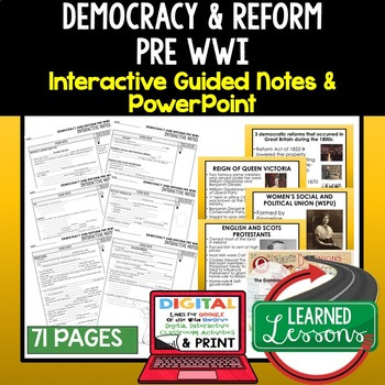 Democracy Pre WWI Guided Notes & PowerPoints, Digital Distance Learning & Print