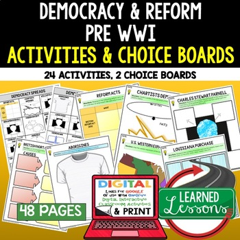 Democracy Spreads Activities, Choice Board, Print & Digital, Google
