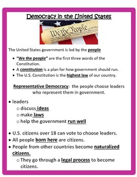Democracy Study Guide -3rd Social Studies