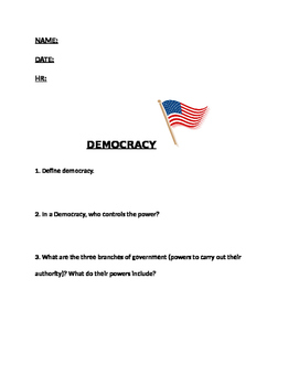 Democracy Worksheet