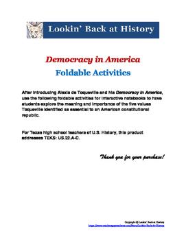 Democracy in America Foldable Activities