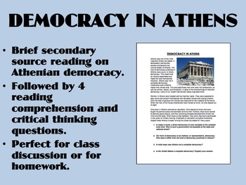 Democracy in Athens reading - Global/World History