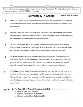Democracy in Greece Common Core Reading Comprehension Assessment