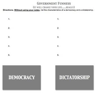Democracy vs. Dictatorship Worksheet