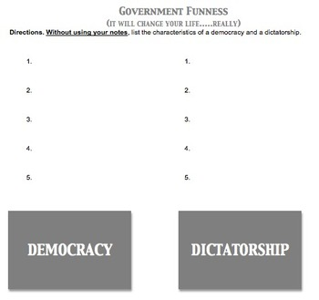 Democracy vs. Dictatorship Worksheet
