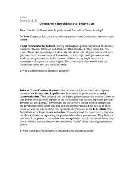 Democratic Republicans vs. Federalists