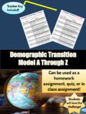Demographic Transition Model A Through Z Worksheet