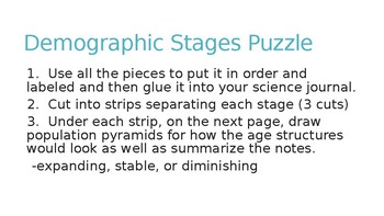 Demographic Transition Puzzle Foldable