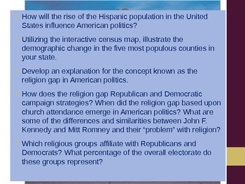 Demography Ideology and Religion Lesson Ideas and Grading Rubric