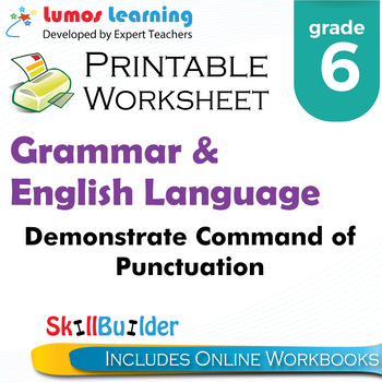 Demonstrate Command of Punctuation Printable Worksheet, Grade 6