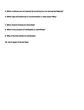 Demonstrating Brushing and Flossing Worksheet