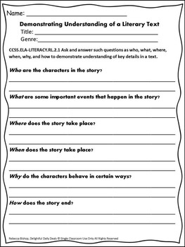 Demonstrating Understanding of a Literary Text for Second Graders