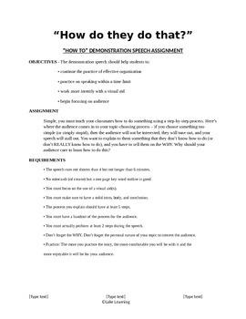 Demonstration/How To Speech Assignment