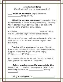 Demonstration Speech Project: Homework/Classwork