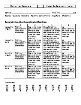 Demonstrative Adjective Interactive Notebook