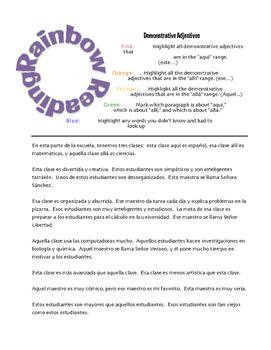 Spanish Demonstrative Adjective Rainbow Reading