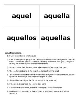 Demonstrative Adjective Translation Game