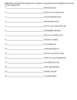 Demonstrative Adjective Worksheet