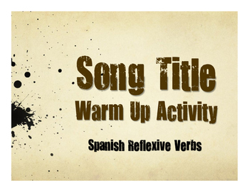 Spanish Reflexive Verb Song Titles