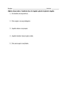 Demonstrative Adjective review/quiz (Mundo Real 1 Unidad 3)
