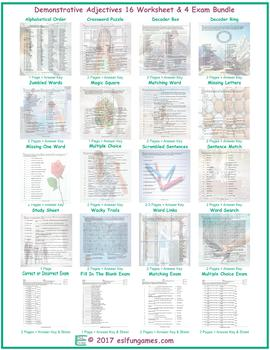 Demonstrative Adjectives 16 Worksheet- 4 Exam Bundle