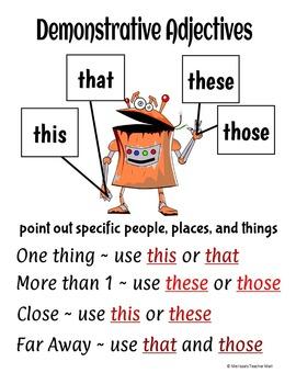 demonstrative adjectives activity by melissa s teacher mall tpt