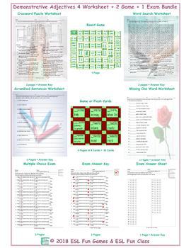 Demonstrative Adjectives 4 Worksheet-2 Game-1 Exam Bundle