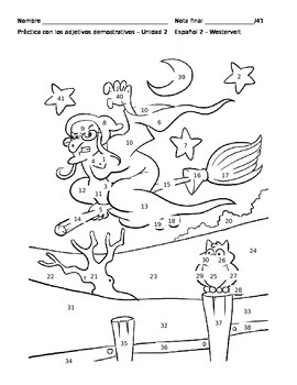 Demonstrative Adjectives Coloring Sheet