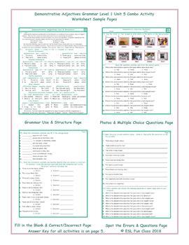 Demonstrative Adjectives Grammar Combo Activity Worksheets