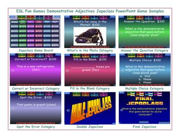 Demonstrative Adjectives Jeopardy PowerPoint Game Slideshow