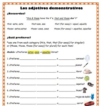Demonstrative Adjectives Practice