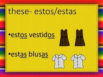 Demonstrative Adjectives Spanish PowerPoint Presentation