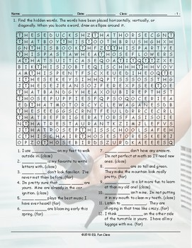 Demonstrative Adjectives Word Search Worksheet