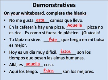 Demonstrative Adjectives and Pronouns in Spanish--Initial Presentation