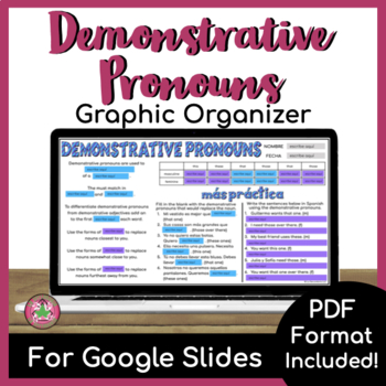 Demonstrative Pronoun Graphic Organizer