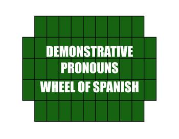 Spanish Demonstrative Pronoun Wheel of Spanish