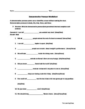 Demonstrative Pronoun Worksheet