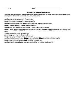 Demonstrative Pronouns : 10-pt. quiz