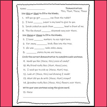 Demonstratives Assessment--This, That, These, Those