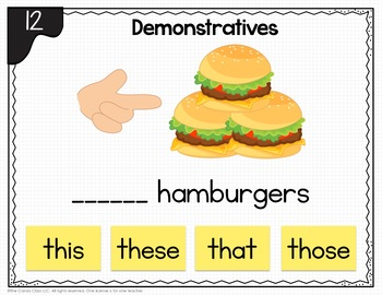 Demonstratives Activities: Digital Task Cards for Google Classroom and PPT Use
