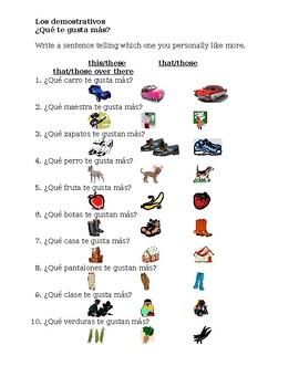 Demonstrativos (Demonstratives in Spanish) worksheet