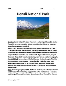 Denali National Park - Alaska lesson facts questions info