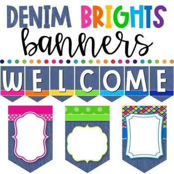 Denim Brights Classroom Theme - Banners