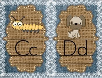 Denim, Burlap, and Lace Alphabet Mini Posters