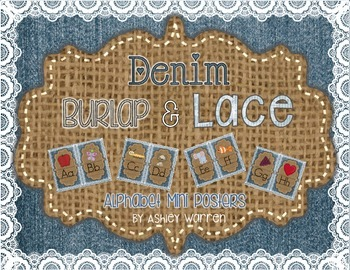 Denim, Burlap, and Lace Alphabet Mini Posters